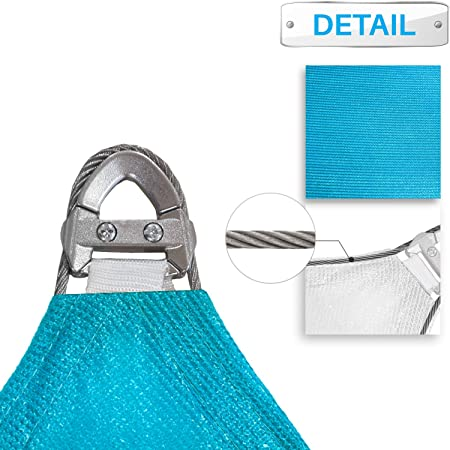 Patio Large Sun Shade Sail 24 x 24 x 24 Equilateral Triangle Heavy Duty Strengthen Durable Outdoor Canopy UV Block Fabric A-Ring Design Metal Spring Reinforcement 7 Year Warranty -Turquoise