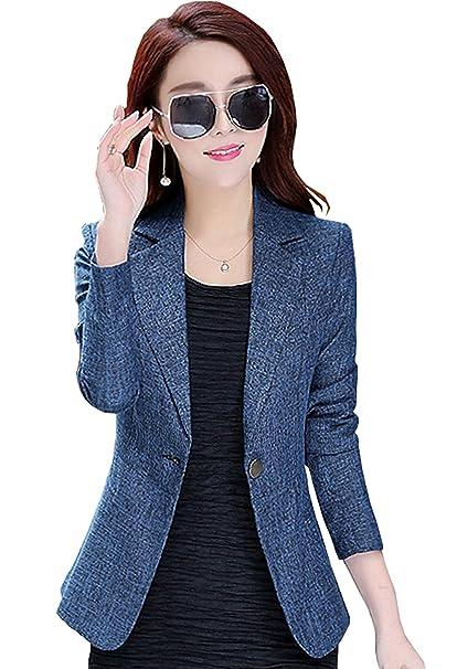 : Blazers de oficina para mujer con un solo botón