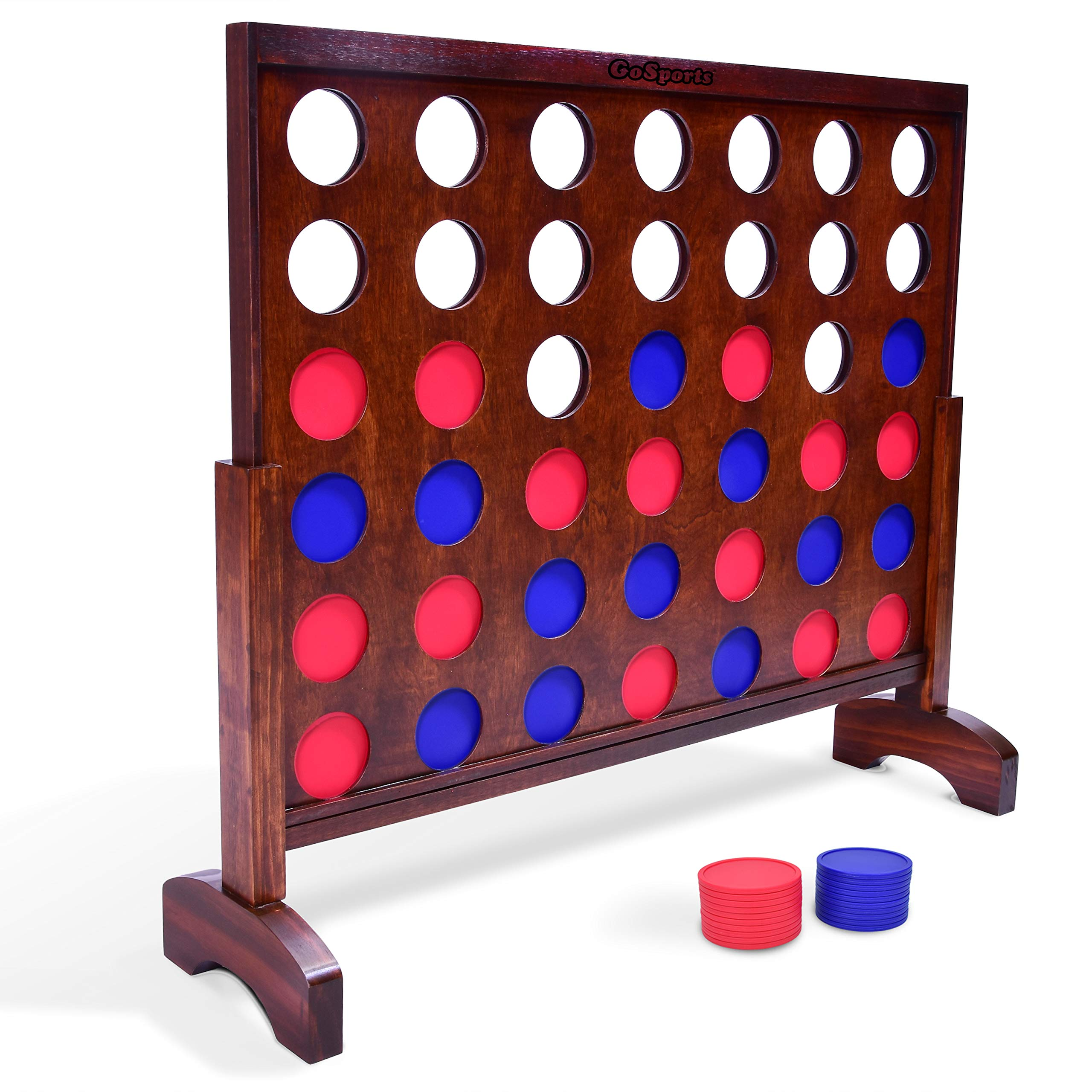 GoSports Giant Wooden 4 in a Row Game | Choose Between Classic White or Dark Stain | 3 Foot Width - Jumbo 4 Connect Family Fun with Coins, Case and Rules