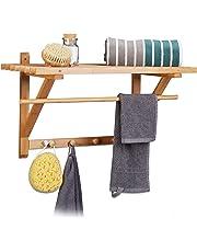 Relaxdays – Estante toallero de pared con perchero hecho de bambú con medidas 35 x 60