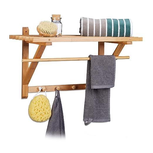 Relaxdays - Estante toallero de pared con perchero hecho de bambú con medidas 35 x 60 x 30 cm aprox. Peso 1.55 kg con 4 ganchos para colgar toallas para el ...