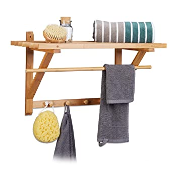 Amazon.com: Relaxdays – Perchero de pared con 4 ganchos ...
