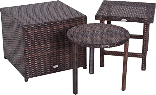 Outsunny 3 Piece Rattan Wicker Outdoor Compact Stackable Patio Furniture Set