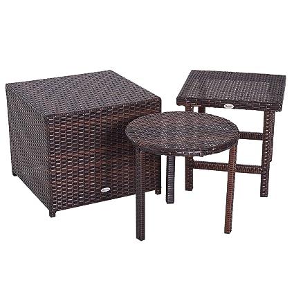 Amazon.com: Outsunny - Juego de muebles de mimbre de 3 ...