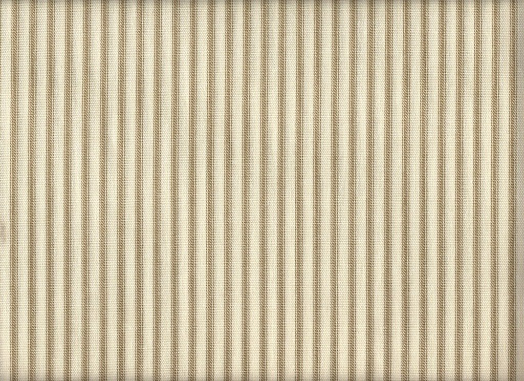 French Country Linen Beige Ticking Stripe Ruffled Standard Shams Pair, Lined Cotton