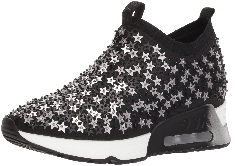 Ash Women's AS-Lighting Star Sneaker, Black/Silver, 36 M EU (6 US)