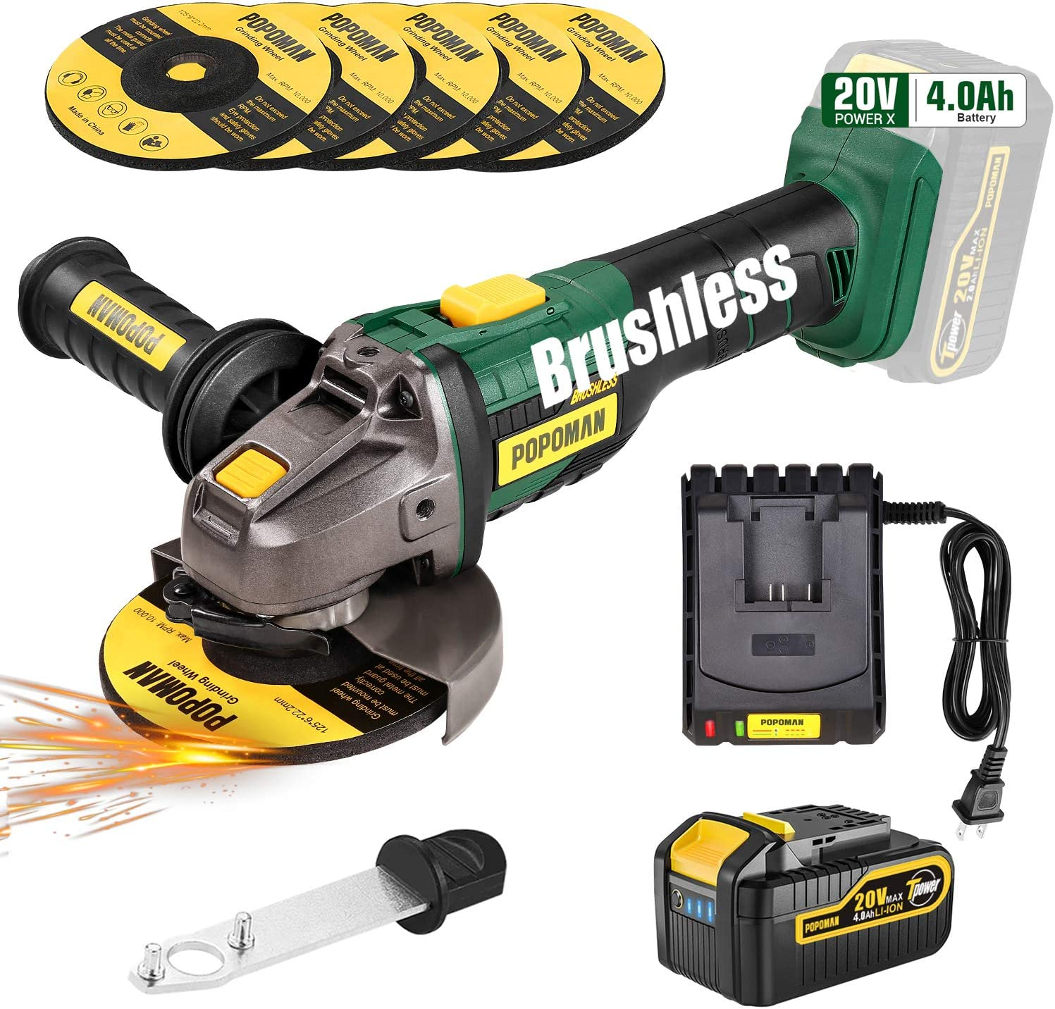 Brushless Angle Grinder with 4.0Ah Lithium-ion Battery
