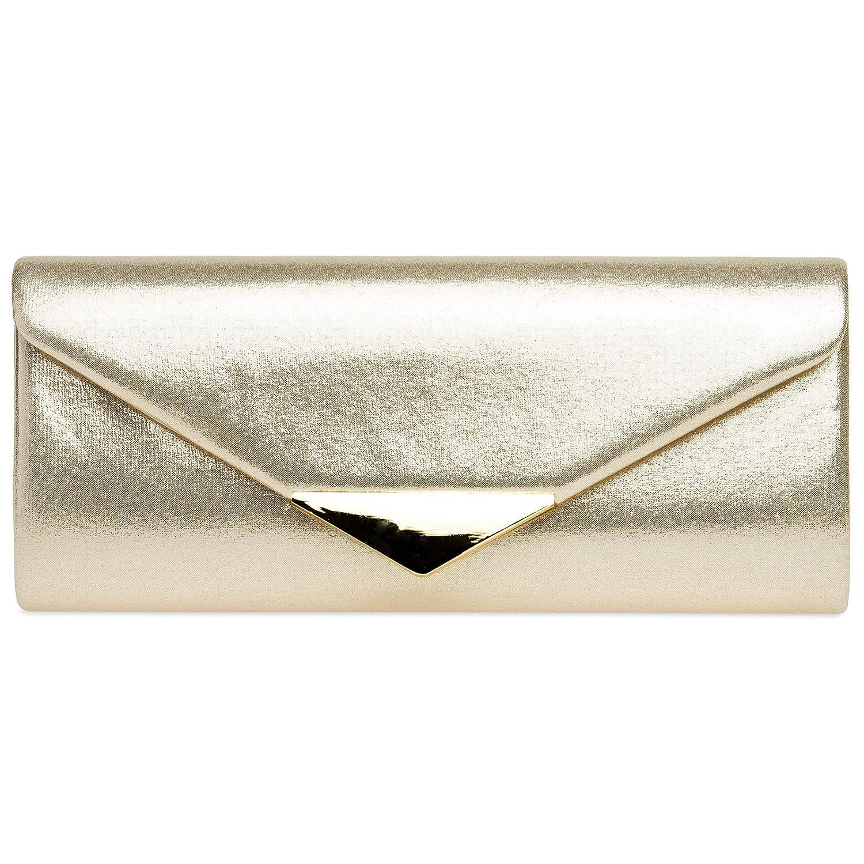 CASPAR TA417 Damen Glanz Satin Envelope Baguette Clutch Abendtasche 4251549601760