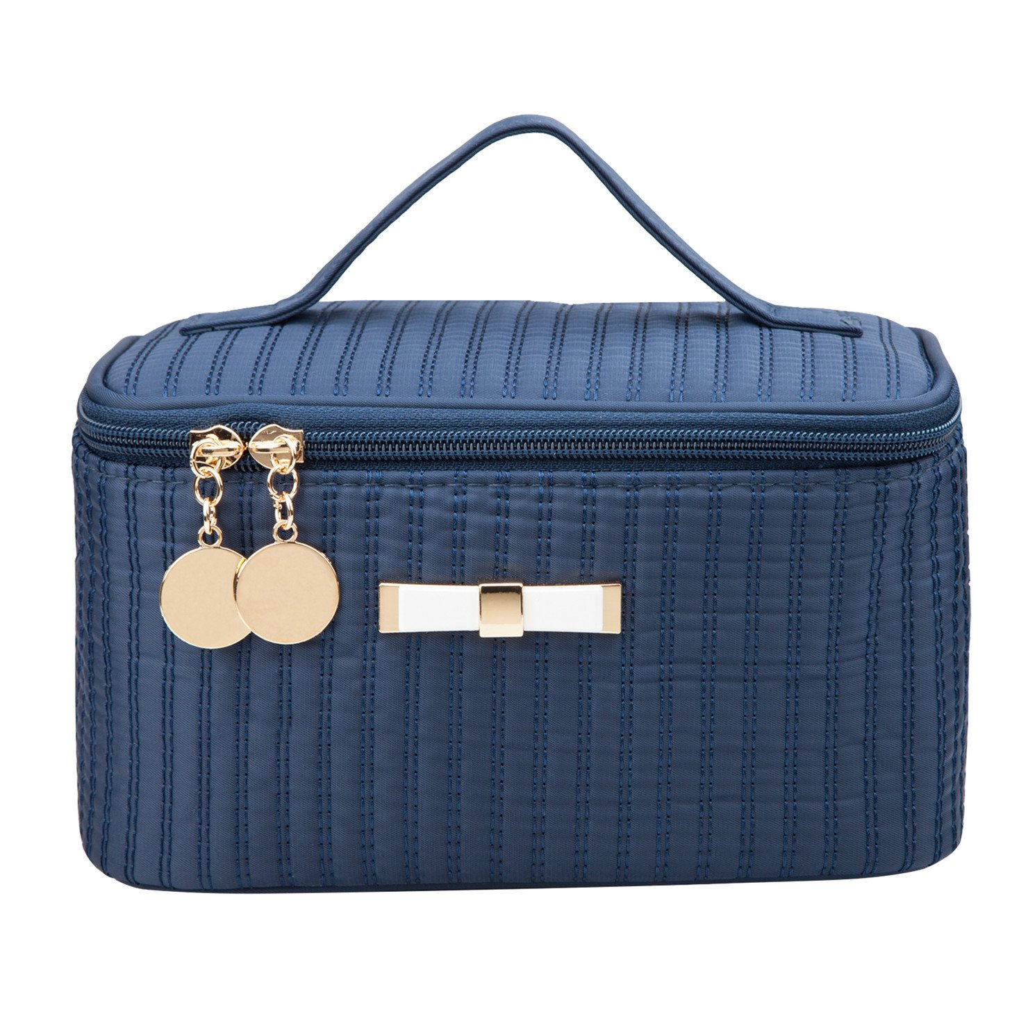 Alsomtec Multi-function Makeup Cosmetic Bag single layer with quality zipper travel Makeup Bag Toiletry Travel Kit With mirror (Dark blue)