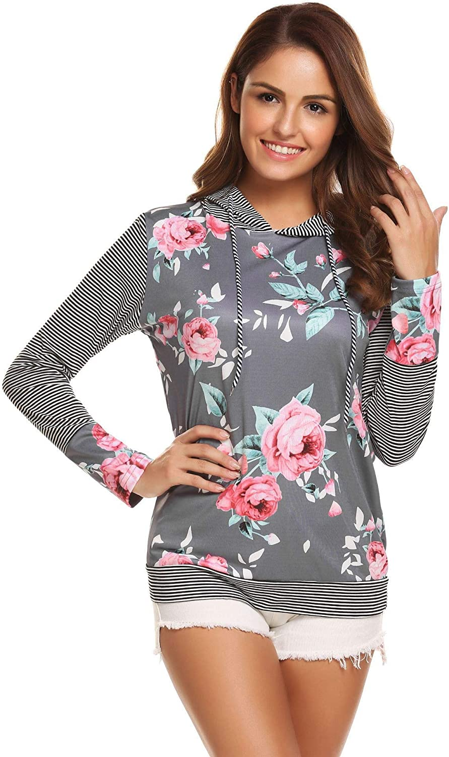 Sexyfree Womens Casual Floral Print Striped Long Sleeve Drawstring Hoodie Pullover Sweatshirt with Pockets S-XXL