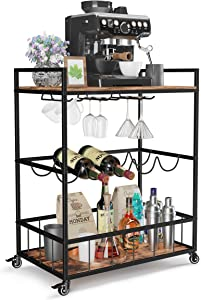 Industree Bar Cart, Metal Wood Kitchen Cart on Wheels with Handle Rack, 3 Tier Storage Shelves, Wintage Style Serving Cart with Wine Rack and Glass Holder for Family