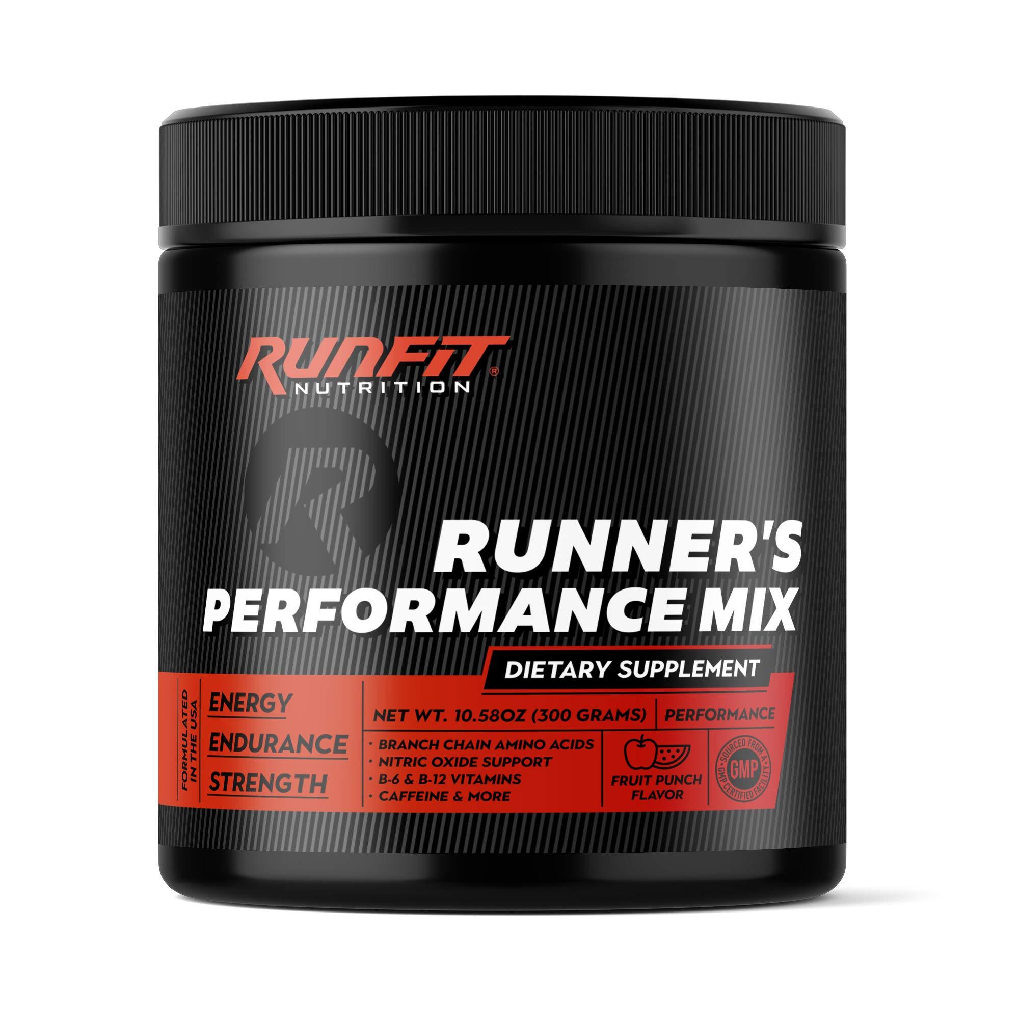 Runner's Performance Mix - Energy & Endurance Powder - Keto Friendly - Low Carb & Low Calorie - Vitamins, BCAAs, Caffeine & More - Fruit Punch - 30 Servings!