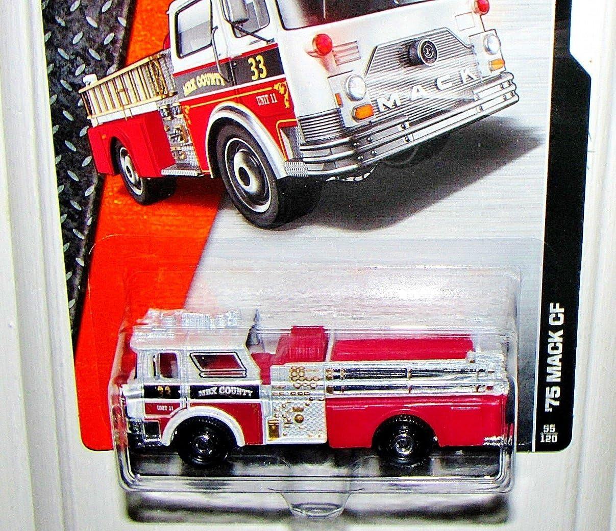 Matchbox 2015 #55 /'75 Mack CF Fire Truck MBX County 33 WHITE Short Card