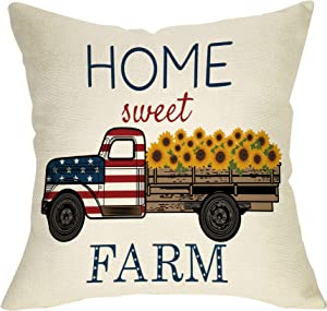 """Softxpp Home Sweet Farm Decoration Summer Farmhouse Throw Pillow Cover 4th of July Patriotic Sign Vintage Sunflower Truck Home Decor Cushion Case Decorative for Sofa Couch 18"""" x 18"""" Inch Cotton Linen"""
