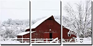 "wall26 - 3 Piece Canvas Wall Art - Big Red Barn in The Snow - Modern Home Decor Stretched and Framed Ready to Hang - 24""x36""x3 Panels"