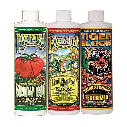FoxFarm Grow Big, Big Bloom & Tiger Bloom Liquid Fertilizer Nutrient Trio  Soil-Formula, 3/16-Ounce Bottles