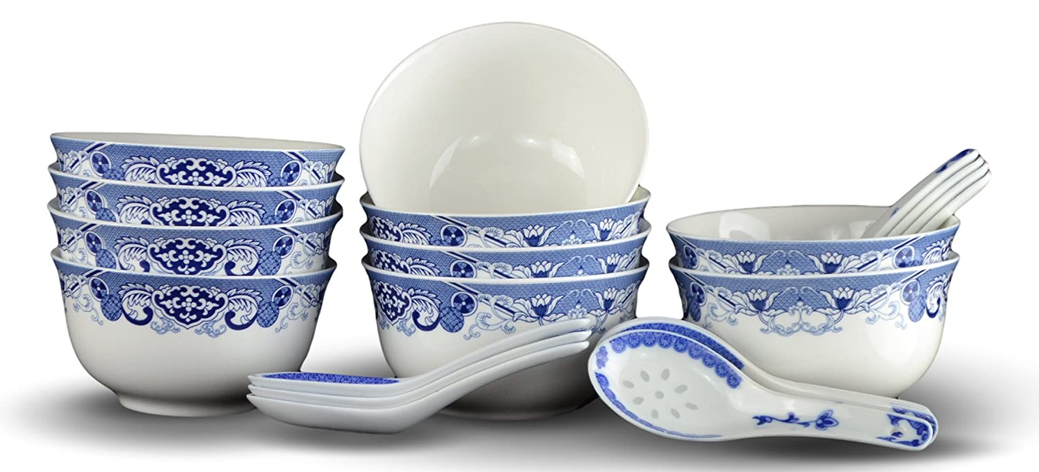 10 Pcs Fine Bone China Blue and White Bowl, with Free 10 Porcelain Spoons, Rice Bowl, Cereal Bowl, Soup Bowl, Fruit Bowl Set Festcool