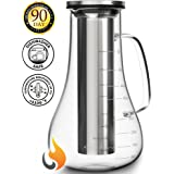 Cold Brew Coffee Maker Kit - Cold Brew Pitcher Infuser Iced Tea Pot - 52 oz Glass Hot Cold Press Coffee Maker - Works even as Cold Coffee Brewer or Iced Coffee Carafe - Stainless Steel Home Filter