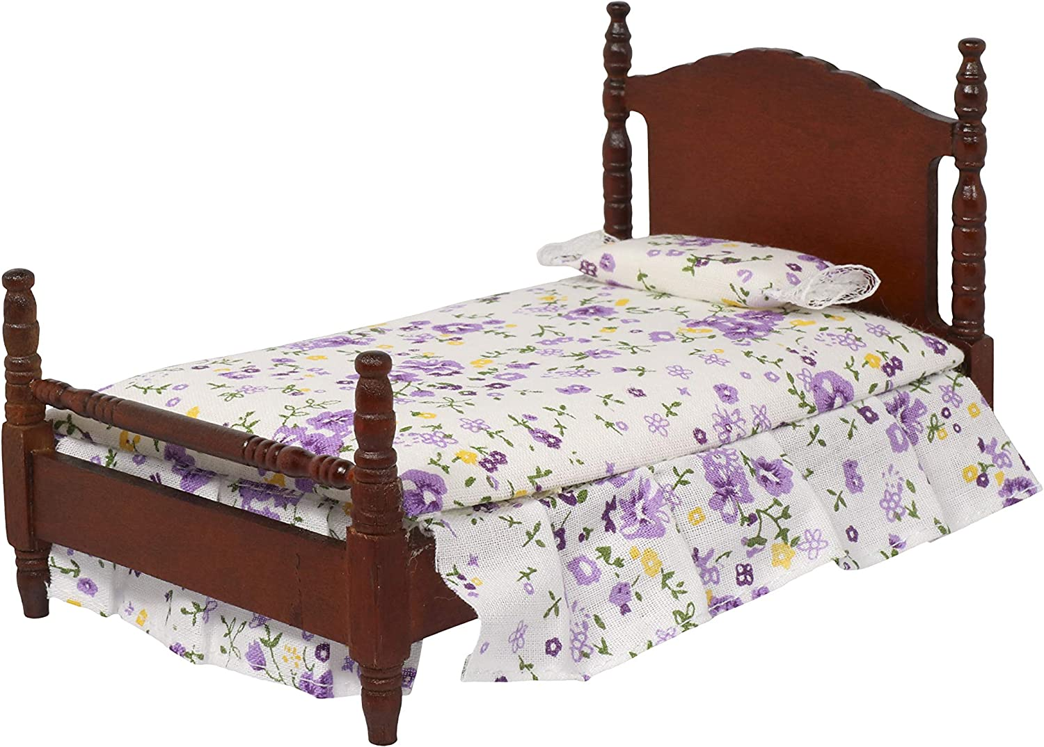 Inusitus Wooden Dollhouse Queen Bed | with Mattress & Pillow | 1/12 Scale | Dolls House Accessories & Toys (Dark)