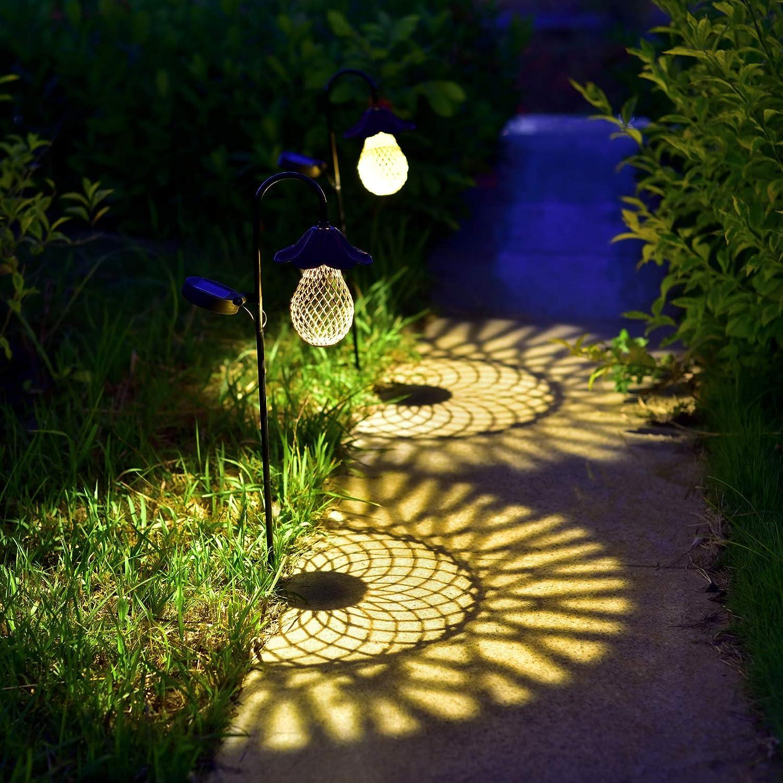Solar Garden Stake Lights, Mushroom Bulb Design Outdoor Landscape Lights for Pathway Patio Lawn Yard Walkway, Set of 2 (Copper)