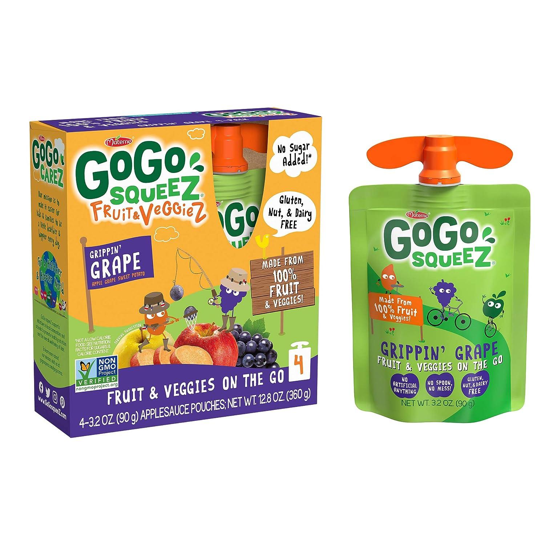 GoGo squeeZ fruit & veggieZ, Apple Sweet Potato Grape, 3.2 Ounce (4 Pouches), Gluten Free, Vegan Friendly, Unsweetened, Recloseable, BPA Free Pouches