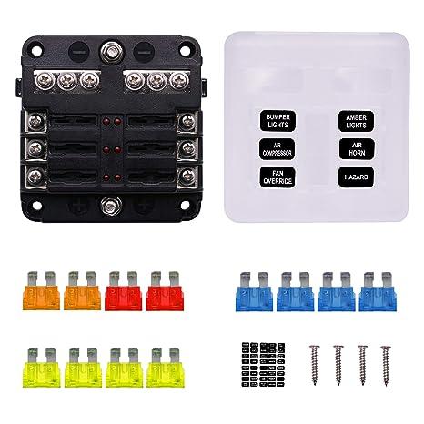 faylapa 32v 6-way fuse blocks blade fuse box screw nut terminal - led  indicator