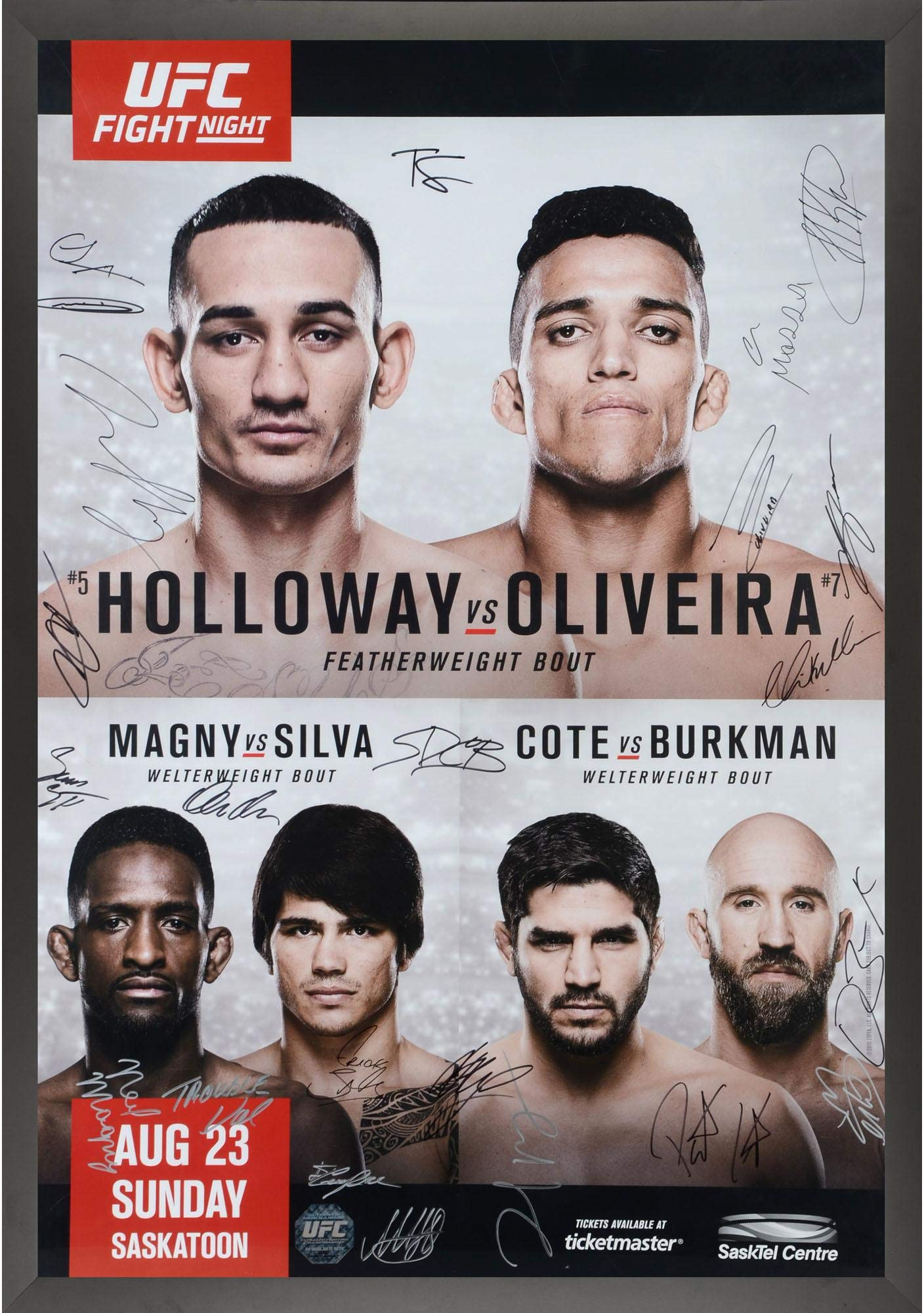 "UFC Fight Night 74 Holloway vs. Oliveira Framed Autographed 27"" x 39"" 24 Signature Fight Poster Fanatics Authentic Certified"