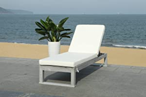 Safavieh PAT7024E Outdoor Collection Solano Natural Wood Cushion Patio Backyard Chaise Lounger Lounge Chair, Grey/Beige