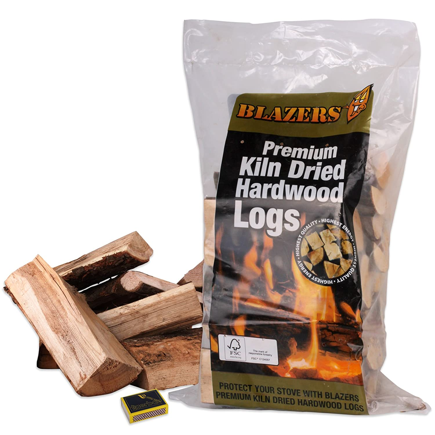 Blazers Kiln Dried Hardwood Logs & Tigerbox Safety Matches. Ideal for Open Fires, Stoves, Wood Log Burners, BBQ & Ovens etc Shop4accessories