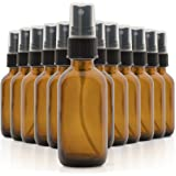 Set of 12, 2oz Amber Glass Spray Bottles for Essential Oils - with Fine Mist Sprayers - Made in the USA