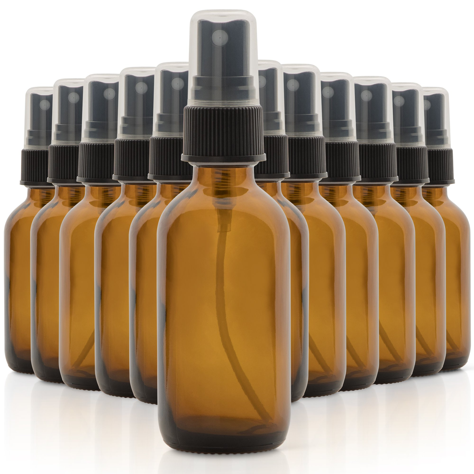 Set of 12, 2oz Amber Glass Spray Bottles for Essential Oils - with Fine Mist Sprayers - Made in the USA by 1790