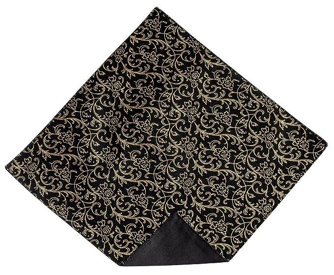 4fa390f62e31 Men's Handkerchief Black with Gold Metallic Roses Design Pocket Square (Mens )