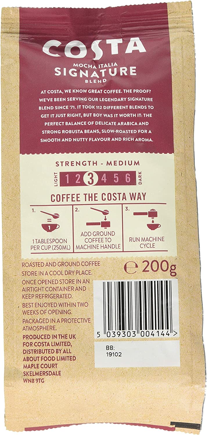 Costa Mocha Italia Signature Blend Ground Coffee For Espresso Machines Medium Strength 3 200g Bag