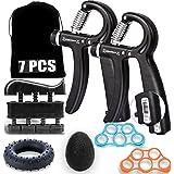 Ufree Grip Strength Trainer 7 Pack Hand Grip Strengthener Forearm Workout Hand Strengthener Kit Adjustable Hand Gripper 11-13