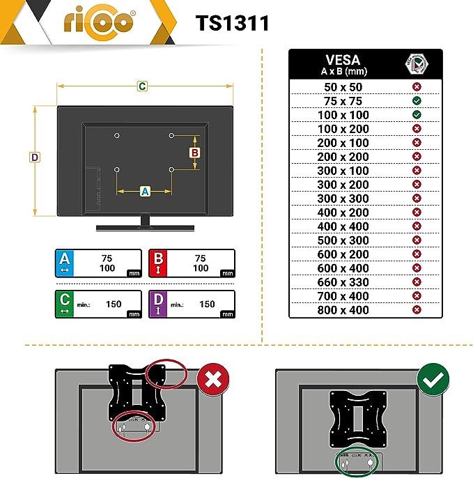 RICOO Soporte Monitor Escritorio con mordaza de Mesa y Resorte de Gas para Pantallas PC de Ordenador TS1311 Brazo de repisa de Teclado Inclinable y Giratorio 3D 4K OLED Curvo VESA 100x100 Universal