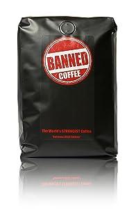 Banned Coffee Ground World's Strongest Coffee - Super Strong Caffeine Content - Our Best Flavor Medium Dark Roast (Ground, 2 lb)