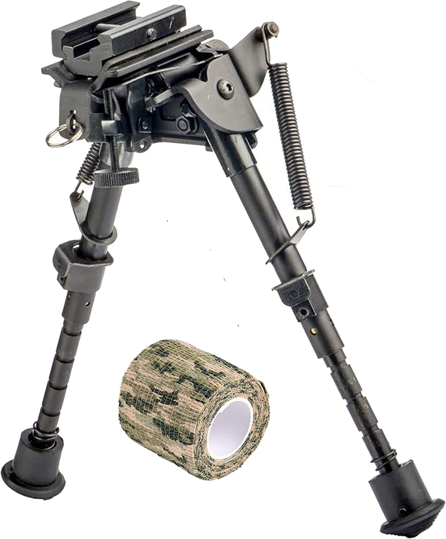 RimFly Bipode para Rifle Airsoft Picatinny Giratorio Ajustable 15-23cm de Caza Universal Rail 20mm con Adaptador + Repuestos con Base Antideslizante Pistola Aire Horquilla Soporte