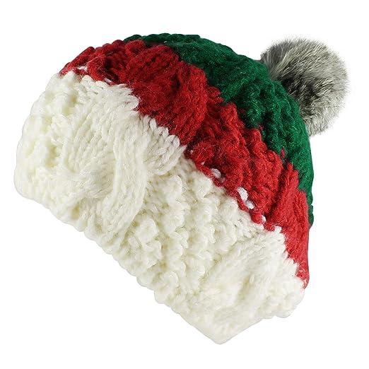 Morehats 3 Tone Striped Crochet Knit Faux Fur Pom Pom Beret Handmade Winter  Ski Warm Hat 895d7c8d1