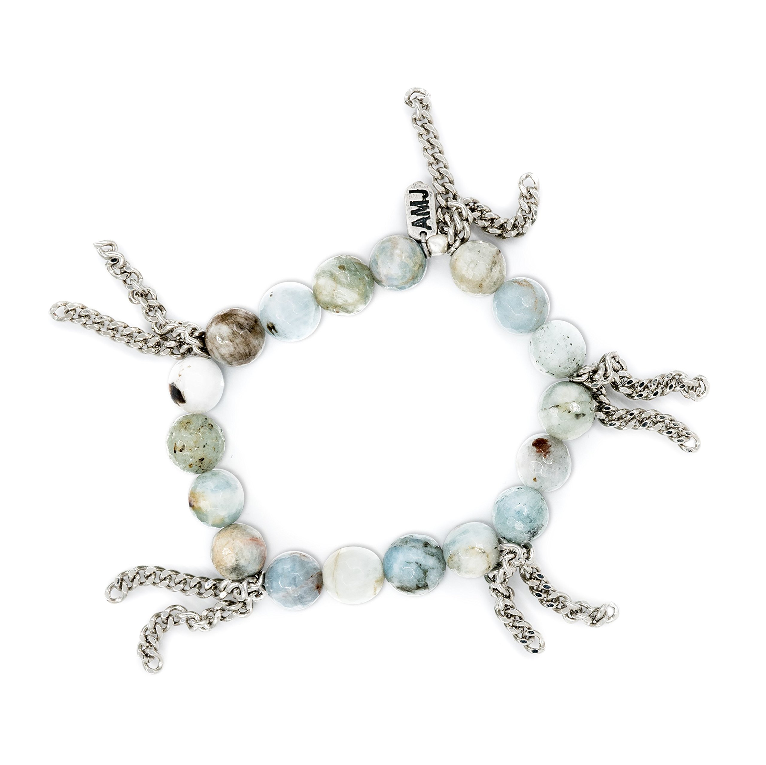 A. Marie Cha Cha Amazonite Beaded and Rhodium Plated Fringe Stretch Bracelet