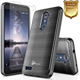ZTE Blade X Max Case, ZTE ZMax Pro Case, ZTE Carry Z981 Case with [Tempered Glass Screen Protector] NageBee [Carbon Fiber Brushed Metal Texture] Dual Layer Protector Hybrid Case (Brushed Black)