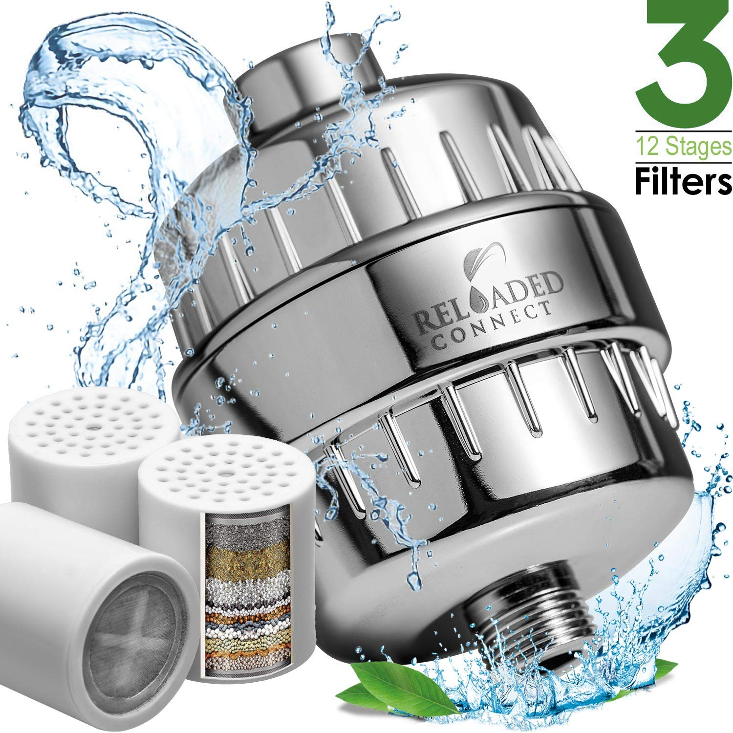 Shower Filter with Vitamin C For Hard Water - 3 Cartridges Included Shower Filters Removes Chlorine Fluoride and Harmful Substances - Showerhead Filter with High Output by Reloadedconnect