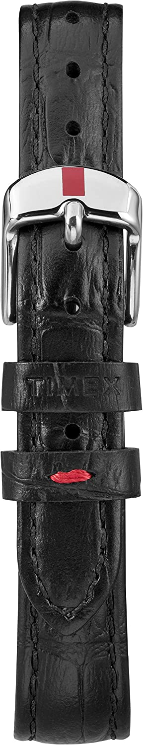 Timex Women's Easy Reader Leather Strap 30mm Watch Signature Black/White
