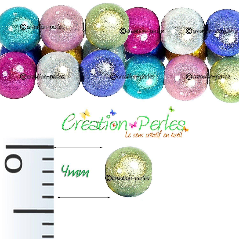 200 Perles Acrylique Magique Miracle 4 mm Panach/é de Couleur Cr/éation Bijoux