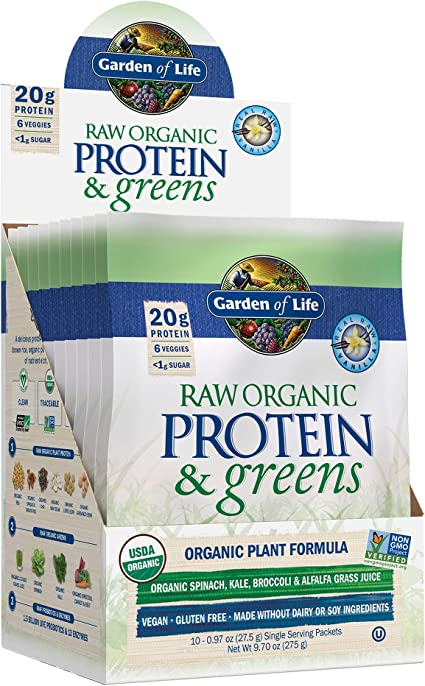 Amazon Com Garden Of Life Raw Organic Protein Greens Vanilla 20 Servings 10 Packets Vegan Protein Powder For Women And Men Juiced Greens And 20g Plant Protein Plus Probiotics Enzymes