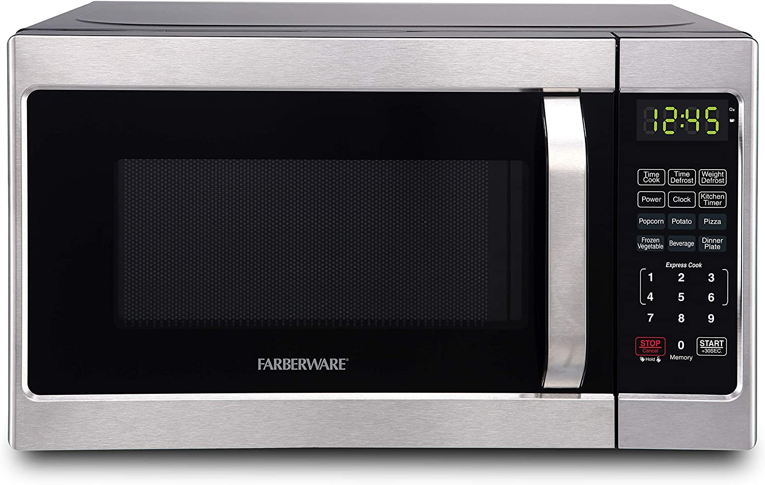 Amazon Com Farberware Classic Fmo07ahtbkj 0 7 Cu Ft 700 Watt Microwave Oven With Led Lighting Brushed Stainless Steel Kitchen Dining