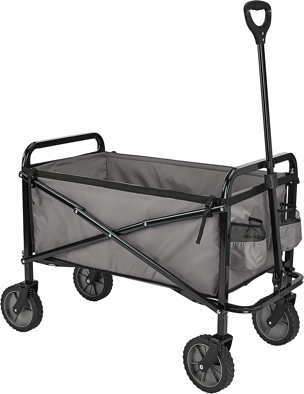 AmazonBasics Garden Tool Collection - Collapsible Folding Outdoor Garden Utility Wagon with Cover Bag, Grey