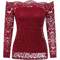 Kate Kasin Women's Off Shoulder Floral Lace Top Crochet T-Shirt KK231