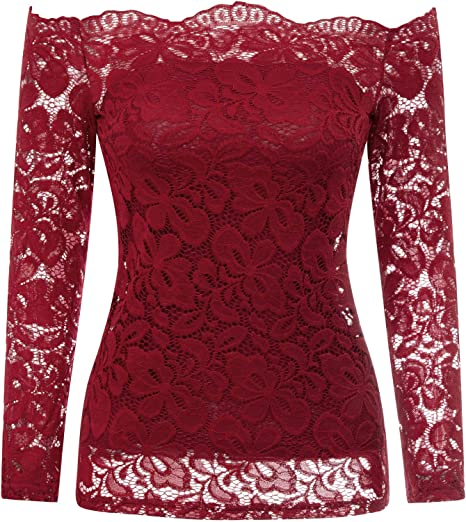 New Womens Shirt Blouse Lace Top Black Red Flowers S-L