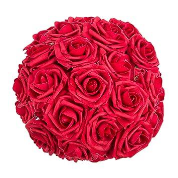 Amazon.com: ZOOYOO Artificial Flowers Dark Red Roses 50pcs,Wedding ...