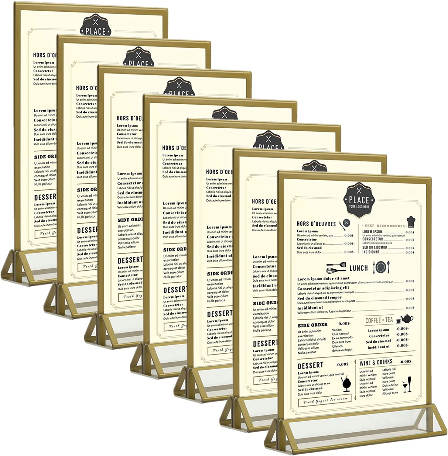 """Cliselda 5x7"""" Acrylic Sign Holder 6Pack Double Sided Wedding Table Numbers Holder, Gold Frame"""
